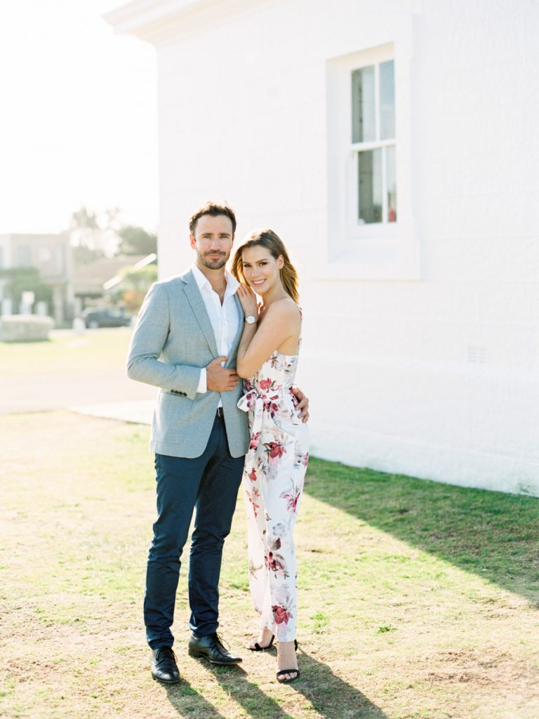 engagement photo of the couple at Macquarie light house