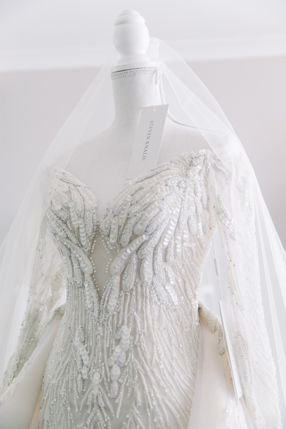 This is a photo of the wedding gown, the brand is steven khalil