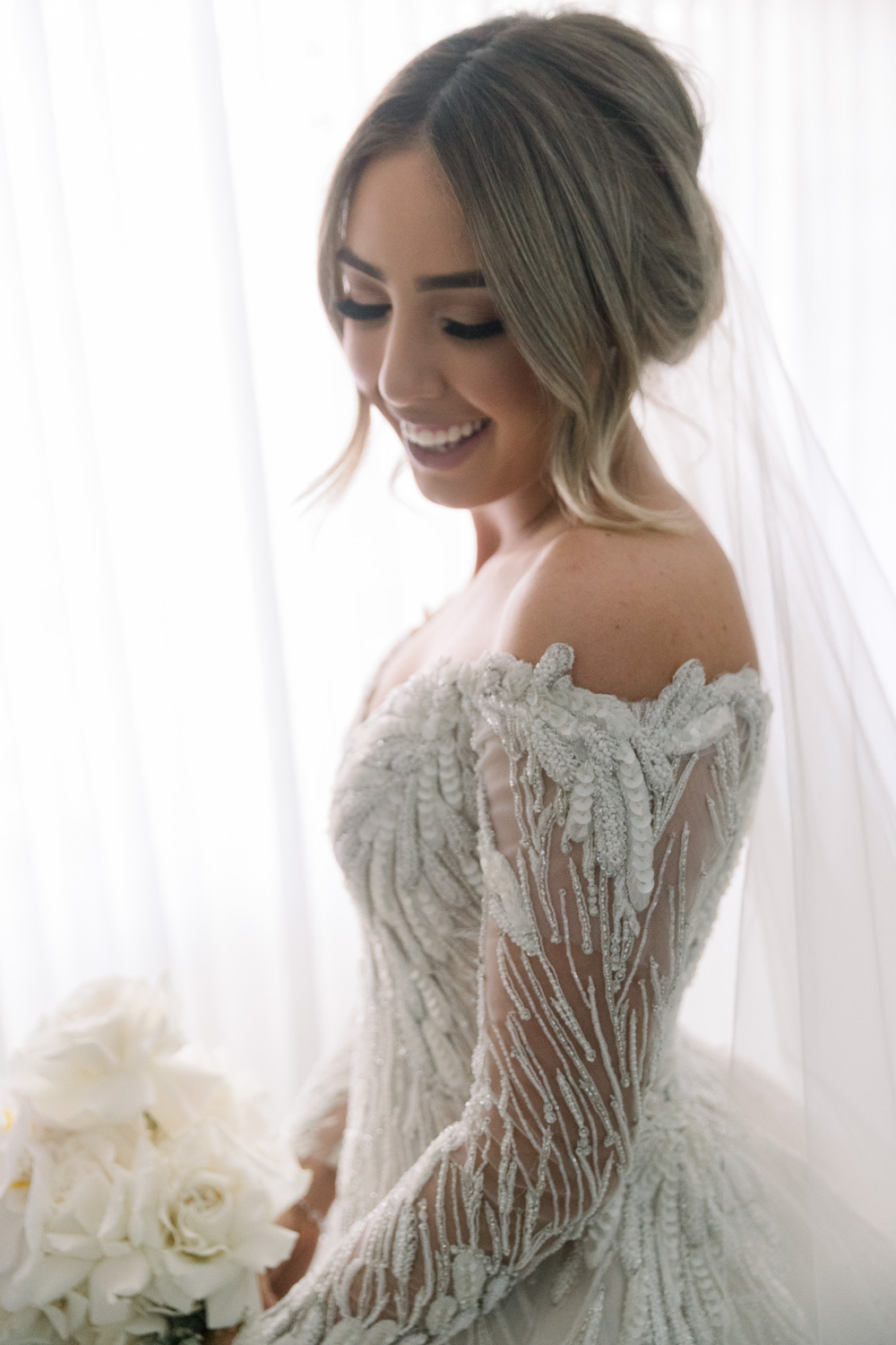 Bride portrait with steven khalil wedding gown