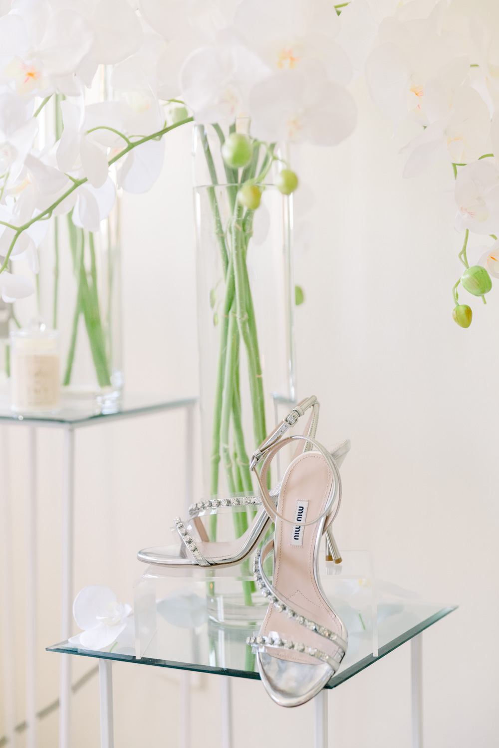 The bride's wedding shoes, the brand is Miu miu