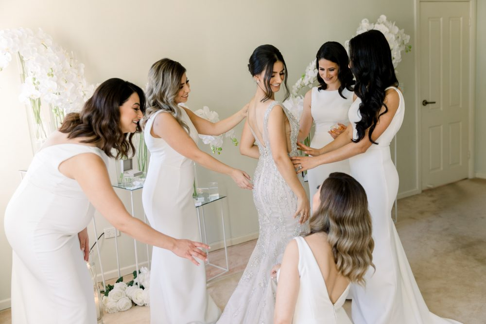 Bride's getting ready photos with bridal party