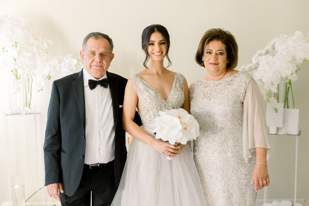 Bride's portrait with family
