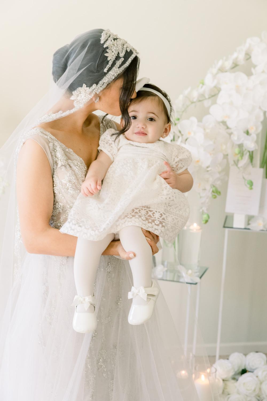 Bride's portrait with kid