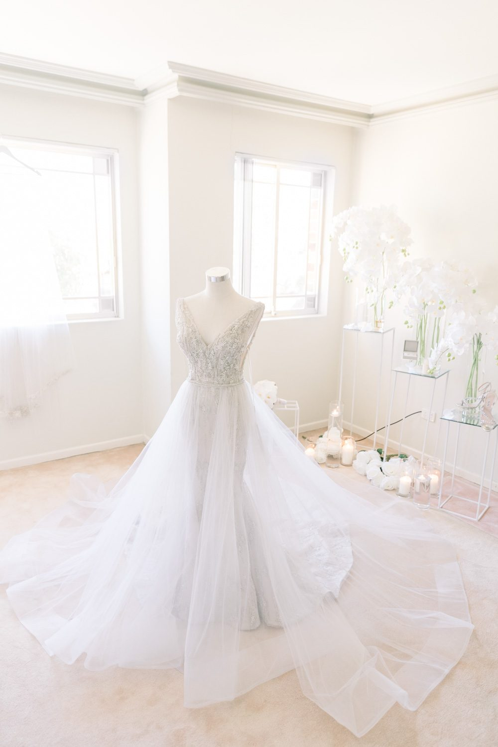 a photo of wedding gown at the bride's place